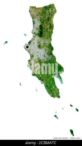 Shape of Zanzibar West, region of Tanzania, with its capital isolated on white background. Satellite imagery. 3D rendering - Stock Photo