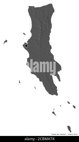 Shape of Zanzibar West, region of Tanzania, with its capital isolated on white background. Bilevel elevation map. 3D rendering - Stock Photo