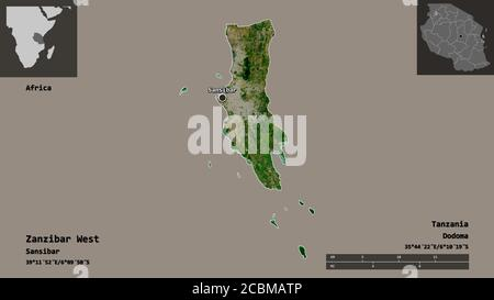 Shape of Zanzibar West, region of Tanzania, and its capital. Distance scale, previews and labels. Satellite imagery. 3D rendering - Stock Photo