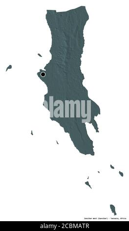 Shape of Zanzibar West, region of Tanzania, with its capital isolated on white background. Colored elevation map. 3D rendering - Stock Photo