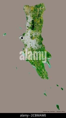 Shape of Zanzibar West, region of Tanzania, with its capital isolated on a solid color background. Satellite imagery. 3D rendering - Stock Photo