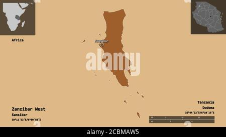Shape of Zanzibar West, region of Tanzania, and its capital. Distance scale, previews and labels. Composition of patterned textures. 3D rendering - Stock Photo