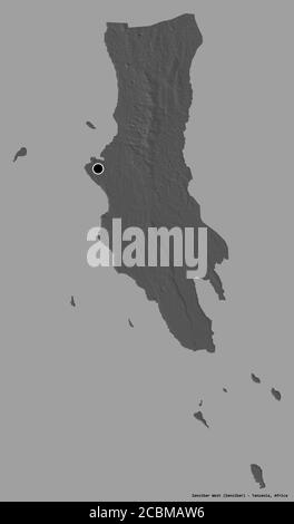 Shape of Zanzibar West, region of Tanzania, with its capital isolated on a solid color background. Bilevel elevation map. 3D rendering - Stock Photo