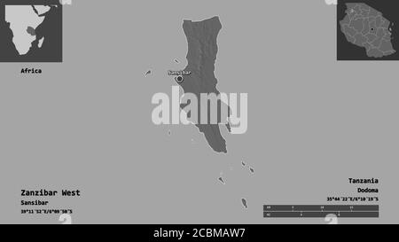 Shape of Zanzibar West, region of Tanzania, and its capital. Distance scale, previews and labels. Bilevel elevation map. 3D rendering - Stock Photo