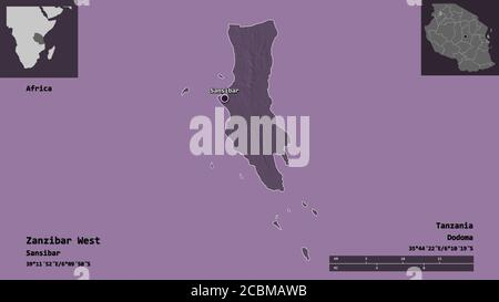 Shape of Zanzibar West, region of Tanzania, and its capital. Distance scale, previews and labels. Colored elevation map. 3D rendering - Stock Photo