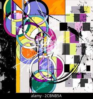 abstract circle background, retro/vintage style, with paint strokes and splashes - Stock Photo