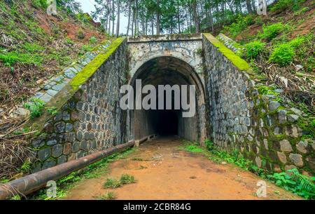 Abandoned Railway Tunnel in the plateau, French architecture built in the 19th century and exists today near Dalat, Vietnam.