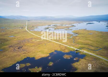 Rannoch Moor aerial view of A82 road and West Highland Way walk path Scotland