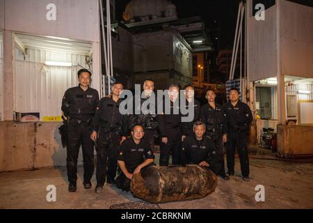 Hong Kong. 15th Aug, 2020. Photo shows a bomb about 1.3 meters in length and 0.4 meter in diameter, which was found on Feb. 29, 2020 in Hong Kong, south China. TO GO WITH 'Spotlight: Meet the heroes defusing WWII bombs in Hong Kong' Credit: Xinhua/Alamy Live News Stock Photo