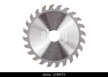Blade for wood circular saw isolated on white background - Stock Photo