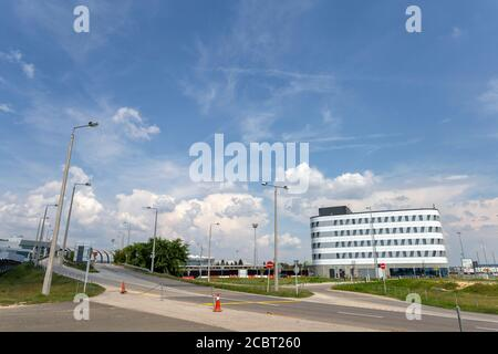 Budapest, Hungary - 08 15 2020: Ibis hotel at the Ferenc Liszt International Airport in Budapest, Hungary on a summer day.