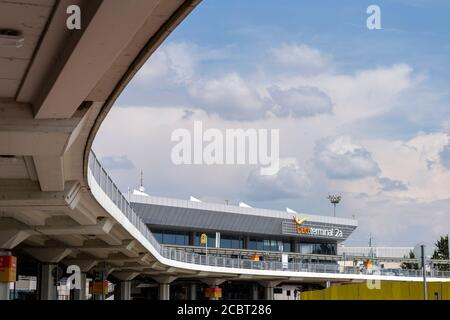 Budapest, Hungary - 08 15 2020: Terminal 2A at the Ferenc Liszt International Airport in Budapest, Hungary on a summer day.