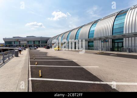 Budapest, Hungary - 08 15 2020: Terminal 2B at the Ferenc Liszt International Airport in Budapest, Hungary on a summer day.