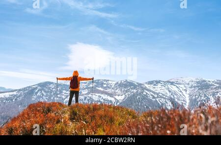 Dressed bright orange jacket backpacker walking by the touristic path using trekking poles in Mala Fatra mountain range,Slovakia. Red Blueberries fiel - Stock Photo
