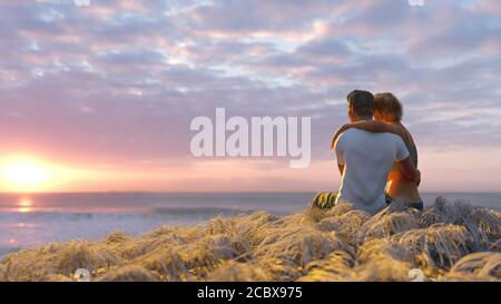 couple in love on the seashore at sunset
