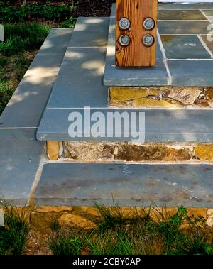 Blu Stone Stairs , Metal Roof - Stock Photo