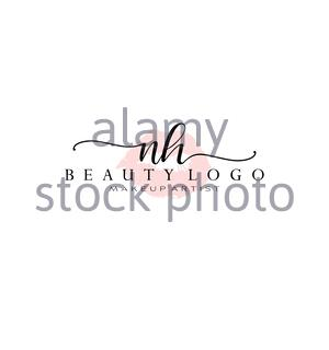 Letter NH Watercolor Lips Premade Logo Design, Logo for Makeup Artist Business Branding, Blush Beauty Boutique Logo Design, Calligraphy Logo - Stock Photo