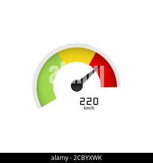 Tachometer with arrow or speedometer icon indicating high speed. Vector on isolated white background. EPS 10. - Stock Photo