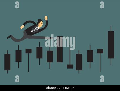Businessman running for on a business graph. Concept for growth and achievement. Business vector illustration. - Stock Photo