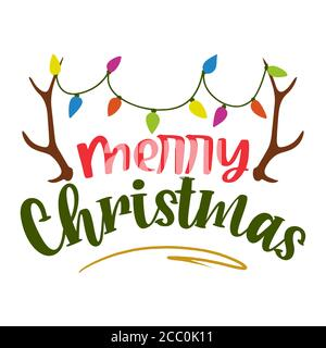 Merry Christmas - Calligraphy phrase for Christmas with raindeer antlers and christmas lights. Lettering for Xmas greetings cards. Good for t-shirt, m - Stock Photo