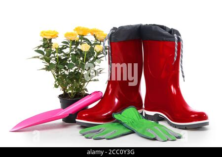 Garden tools with flower pot and boots isolated on white background - Stock Photo