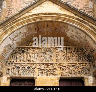 Europe, France, Midi-Pyrenees, Aveyron, Sainte Foy de Conques Abbey, the portal