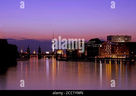 Germany, Berlin, View of skyline with Spree River - Stock Photo