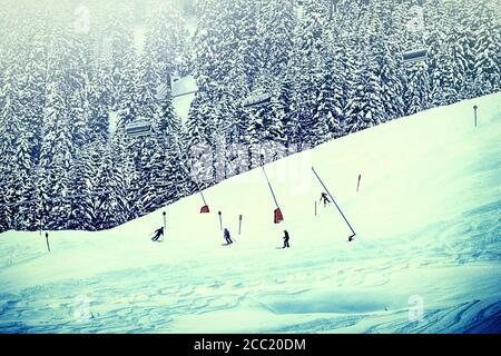 Austria - Skiers on a sky slope bordered by fir trees on the Tauern Alps,with cable cars passing over