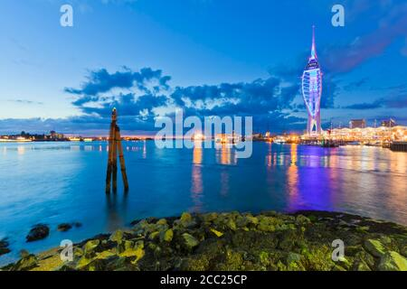 England, Hampshire, Portsmouth, View of Spinnaker Tower at Gunwharf Quays - Stock Photo