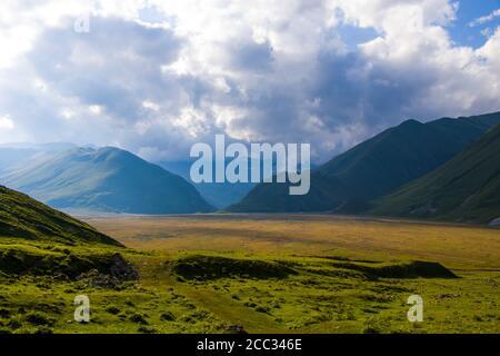 Amazing and beautiful mountain range landscape, peak and hill in Georgia.