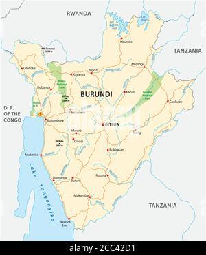 vector road map of Burundi with the new capital Gitega - Stock Photo