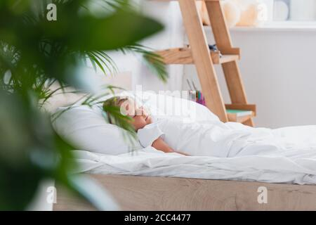 selective focus of boy sleeping in bed in morning Stock Photo