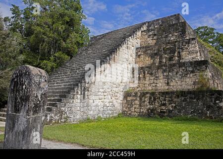 Old ruins of Tikal / Yax Mutal, ancient Maya city near the town Flores, Petén Department, Guatemala, Central America - Stock Photo