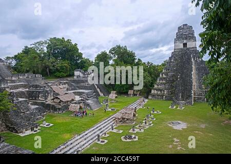 Old ruins of Tikal / Yax Mutal, ancient Maya city near the town Flores, Petén Department, Guatemala, Central America - Stock Photo