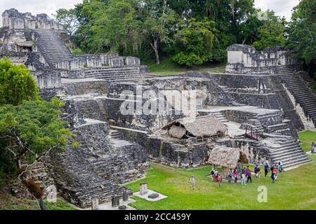North Acropolis of Tikal / Yax Mutal, ancient Maya city near the town Flores, Petén Department, Guatemala, Central America - Stock Photo