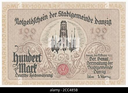 Emergency money (notgeld) banknote of Danzig (town). 100 mark (DM). On background could see St. Mary's Church. 1922 The Free City of Danzig (German: F - Stock Photo