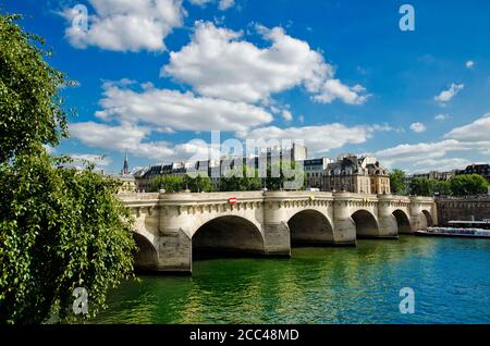 The Pont Neuf (English: new bridge) is the oldest surviving bridge over the Seine in Paris. The construction began in 1578, and lasted until 1607.