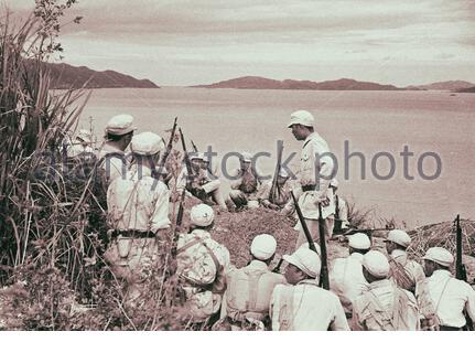 Retro photo of maneuvers of the Chinese people's liberation army (PLA). People's Republic of China. 1949 - Stock Photo