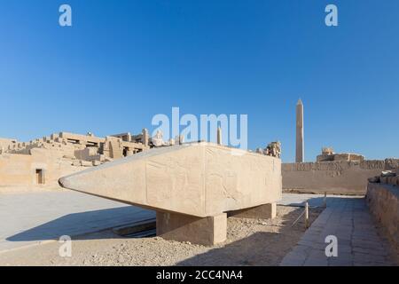 The fallen obelisk of Hatshepsut, Karnak temple complex, Luxor, Egypt - Stock Photo
