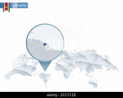 Abstract rounded World Map with pinned detailed Suriname map.Vector Illustration. - Stock Photo