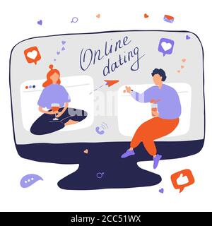 Internet dating. Internet flirting and relationships. Mobile service, application for meeting foreigners. Flat vector illustration