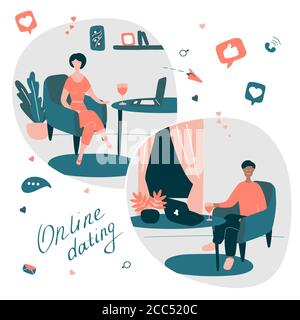 Young man and woman talks online from their homes in different countries. Couple met on dating site. Online relationships, communication with