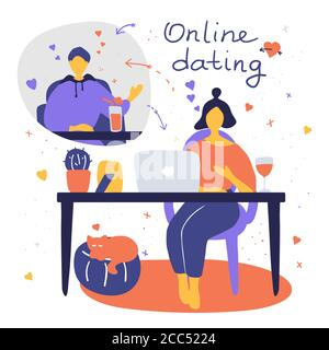 Couple chatting online during pandemic. Man and woman flirting online on dating site. Virtual dating concept. Vector flat illustration