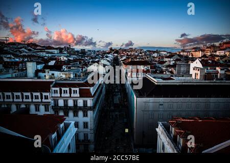 evening, sunset on lisbon, portugal