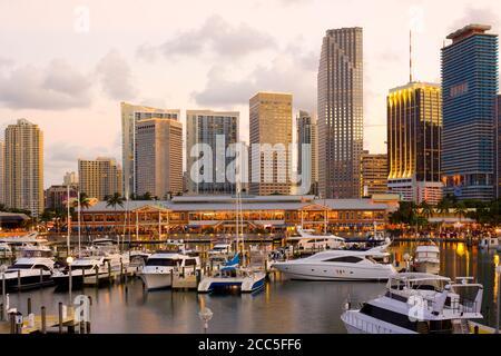 City skyline, Bayside Shopping Mall and Marina at Downtown Miami, Florida, United States - Stock Photo
