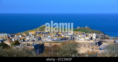 St Ives fishing harbour with the Island in the background. Whilst known as the Island, it is in fact a peninsula
