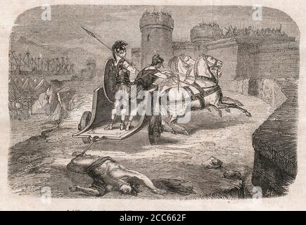 Trojan war : Triumphant Achilles dragging Hector's lifeless body in front of the Gates of Troy - Stock Photo