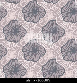 Pale pastel seamless contoured flowers pattern. Simple backdrop in light and purple tones. Perfect for wallpaper, textile, wrapping paper, fabric print. Vector illustration. - Stock Photo