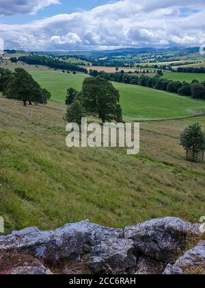 July and looking south west across Eden valley in the Lake district in Cumbria - Stock Photo
