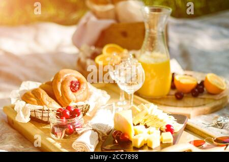 Blanket with food prepared for summer picnic at the park. Cheese, fruits, breads, juice and snacks on blanket